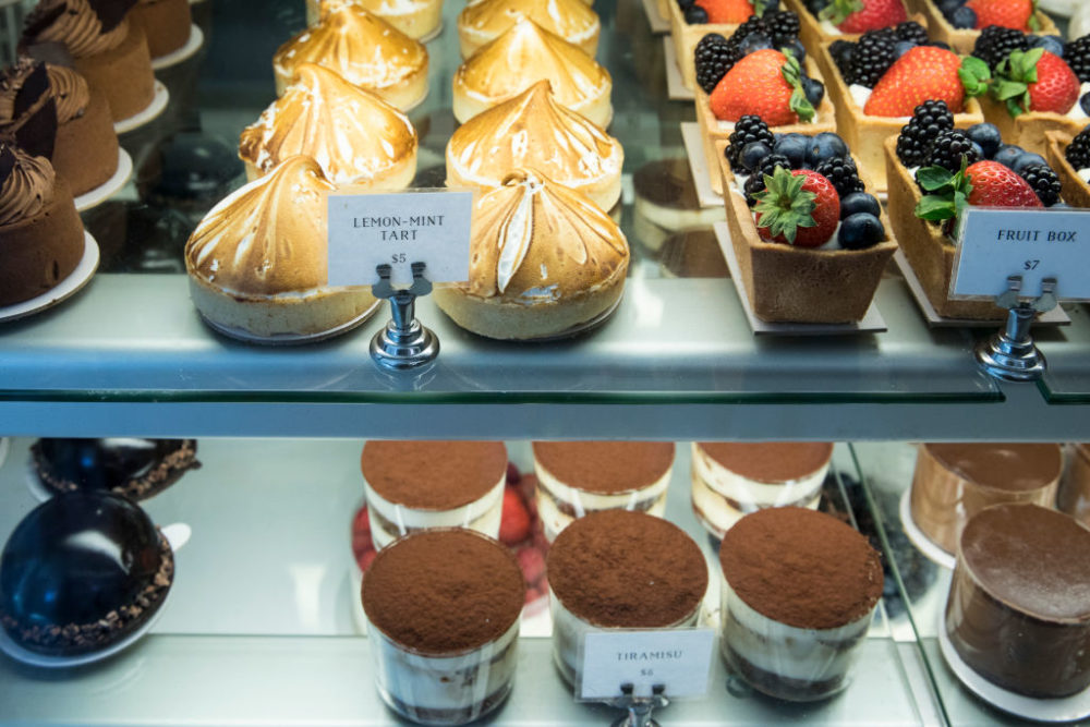 Tarts, cakes and pastries on sale at Tatte Bakery and Cafe in Charles Street in Boston's historic district.   (Photo by Tim Graham/Getty Images)