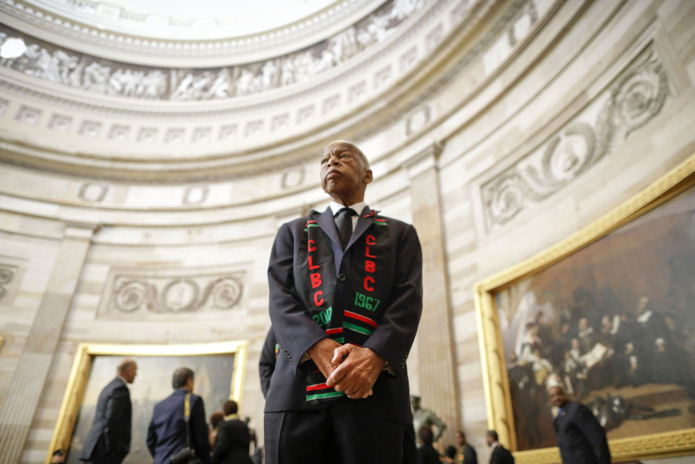 Rep. John Lewis, D-Ga., and other members of the Congressional Black Caucus as they wait to enter as a group to attend the memorial services for Rep. Elijah Cummings, D-Md., at the U.S. Capitol in Washington, Thursday, Oct. 24, 2019. (Pablo Martinez Monsivais/AP Photo)