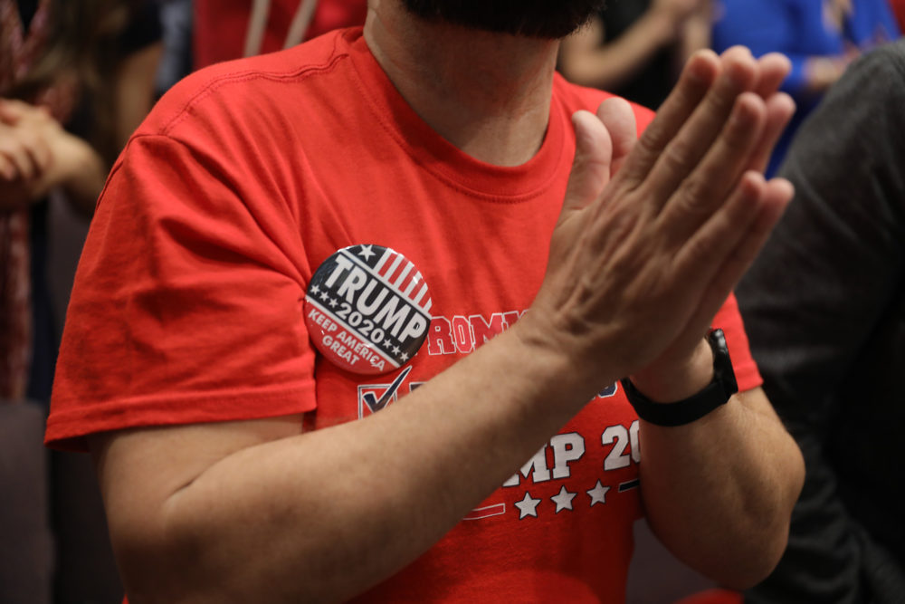 A man prays during the 'Evangelicals for Trump' campaign event on Jan. 3, 2020 in Miami. (Joe Raedle/Getty Images)