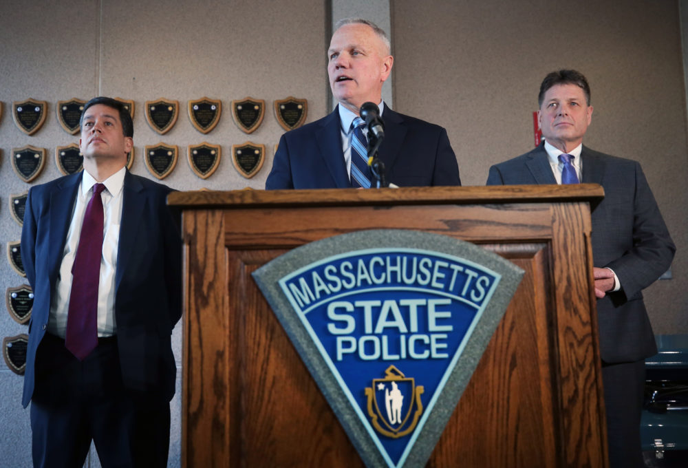 Massachusetts State Police Colonel Christopher S. Mason  holds a press conference in January giving an update on disciplinary action against troopers in the overtime scandal. (Photo by David L. Ryan/The Boston Globe via Getty Images)