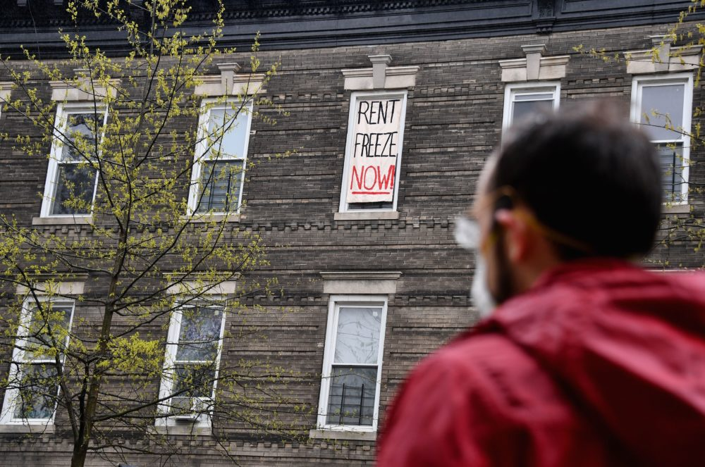 Crown Heights building tenants stage a rent strike on May 1, 2020 in New York City. (Angela Weiss/AFP/Getty Images)