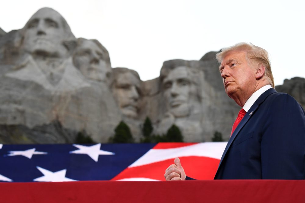 President Donald Trump gestures as he arrives for the Independence Day events at Mount Rushmore National Memorial in Keystone, South Dakota, July 3, 2020. (SAUL LOEB/AFP via Getty Images)