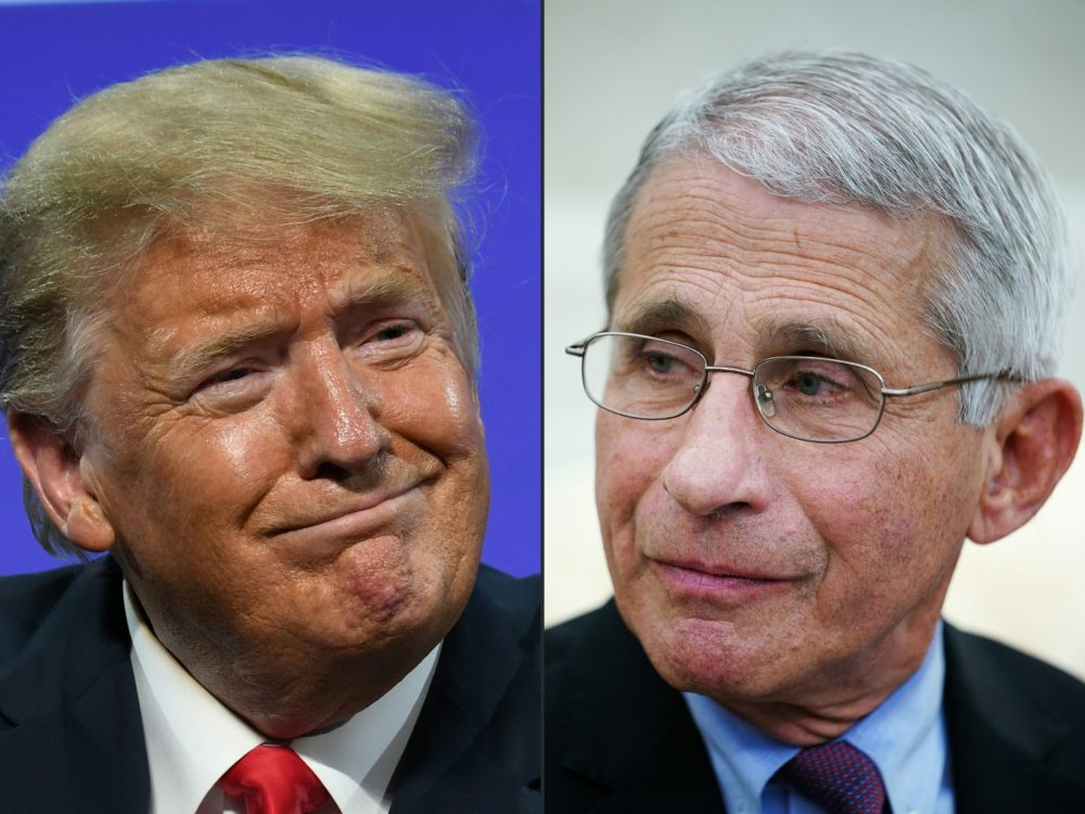 This combination of pictures created on July 13, 2020 shows President Donald Trump in Phoenix, Arizona, and Anthony Fauci, director of the National Institute of Allergy and Infectious Diseases, in Washington, DC. (Photo by SAUL LOEB,MANDEL NGAN/AFP via Getty Images)