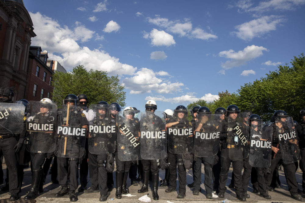 Police work to keep demonstrators back during a protest in Lafayette Square Park on May 30, 2020 in Washington, DC. (Tasos Katopodis/Getty Images)