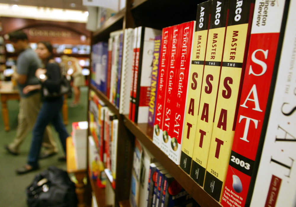 SAT test preparation books sit on a shelf at a Barnes and Noble. (Mario Tama/Getty Images)