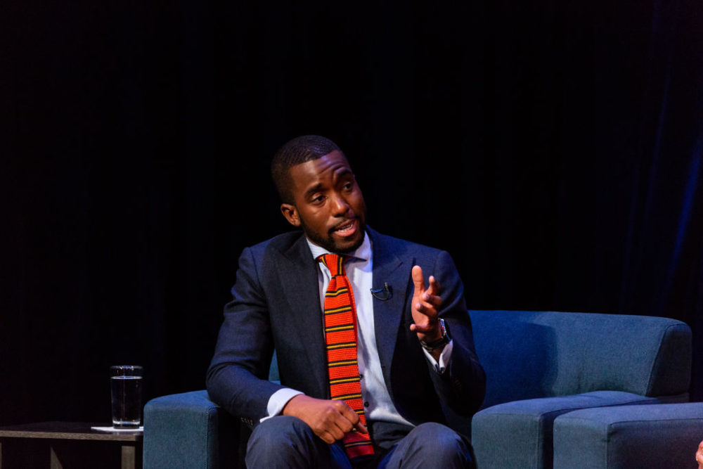 Shermichael Singleton, political strategist, on a panel for TV One and the National Urban League's televised town hall taping in 2018. (Cheriss May/NurPhoto/Getty Images)