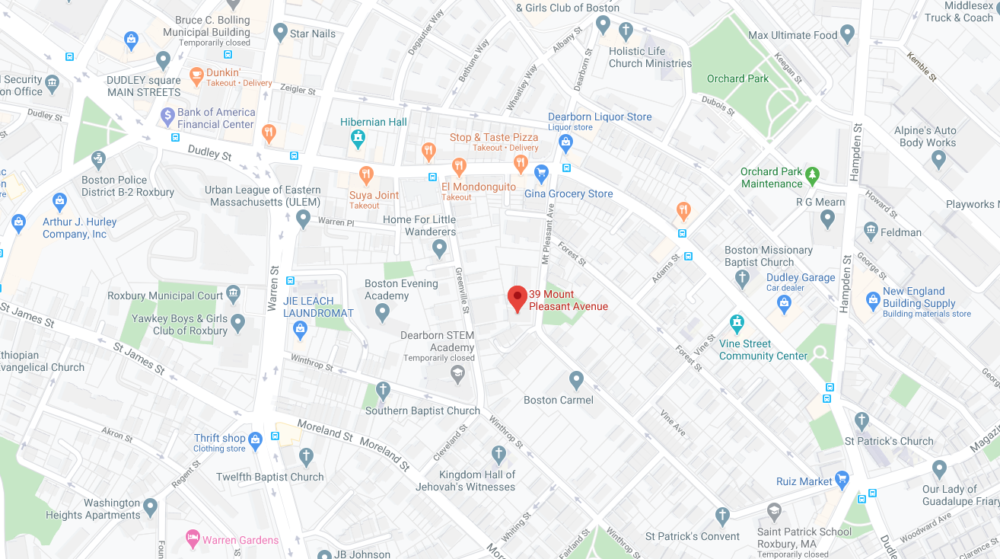The 15-year-old boy was found shot in the area of 39 Mount Pleasant Ave. in Roxbury Thursday. (Google Maps)