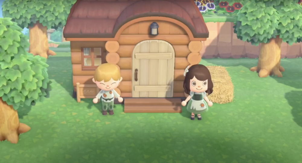 A screenshot from the trailer for Hansel And Gretel, from Due Donne Productions. The performance is staged entirely on Animal Crossing.