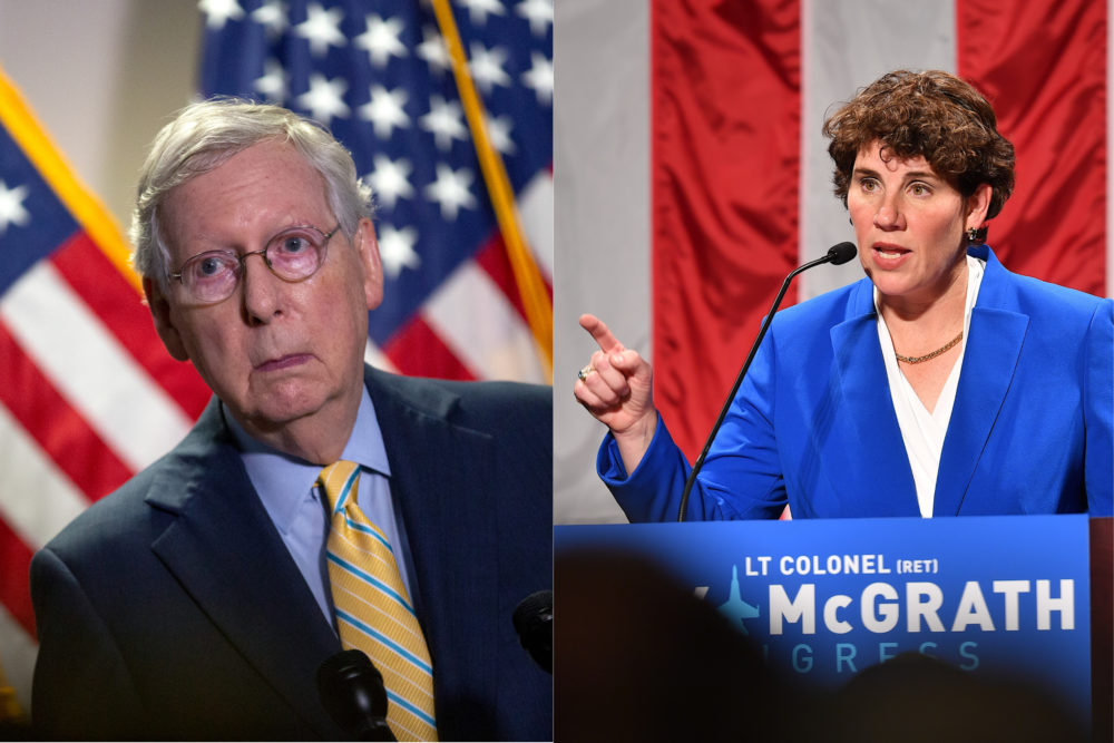 Senate Majority Leader Mitch McConnell is facing a challenge for his Kentucky Senate seat from Democrat Amy McGrath. (Stefani Reynolds/Getty Images; Jason Davis/Getty Images)
