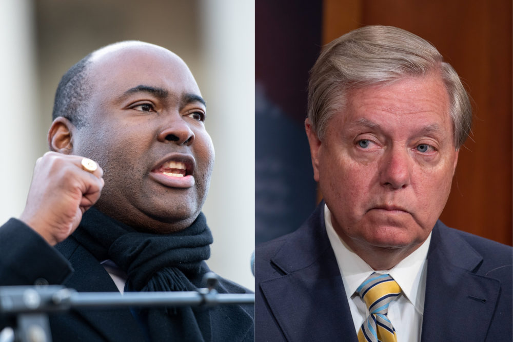 Democrat Jaime Harrison is vying for Lindsey Graham's South Carolina Senate seat. (Sean Rayford/Getty Images; Tasos Katopodis/Getty Images)