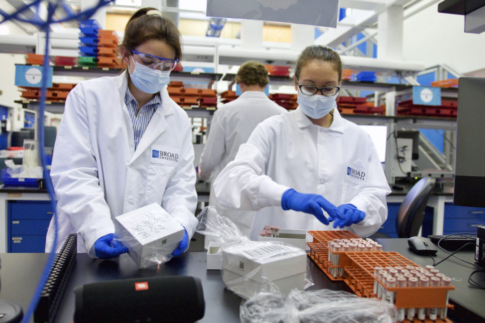 Staff at the CRSP (Clinical Research Sequencing Platform) lab at the Broad Institute of MIT and Harvard process COVID-19 tests in July. (Courtesy Scott Sassone for the Broad Institute of MIT and Harvard)