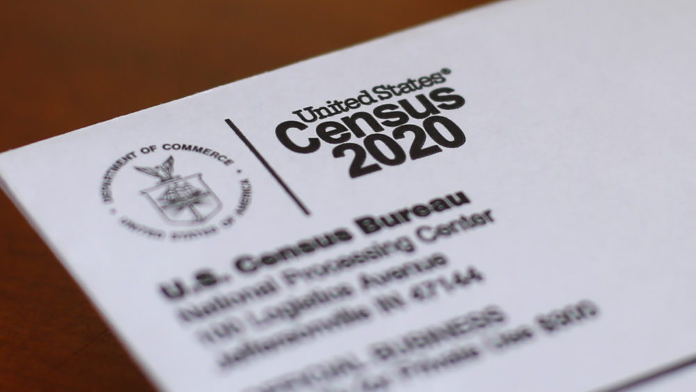 In this Sunday, April 5, 2020 file photo an envelope containing a 2020 census letter mailed to a U.S. resident is shown in Detroit. (Paul Sancya/AP)