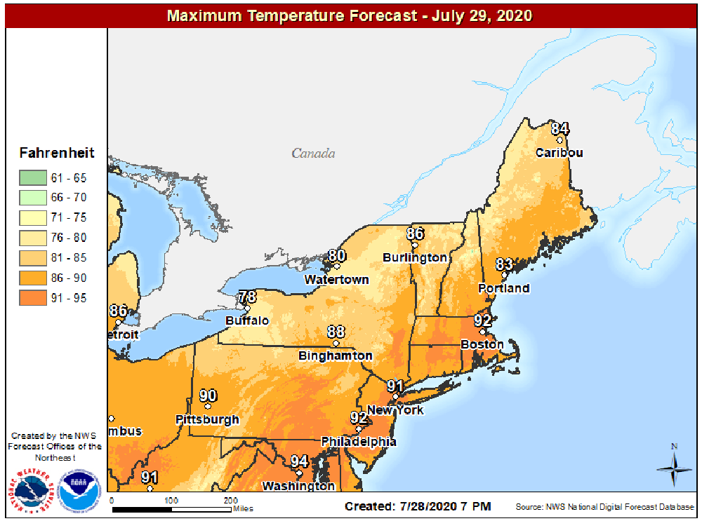 Hot weather again today means high temperatures in the lower 90s for many areas. (Courtesy NOAA)