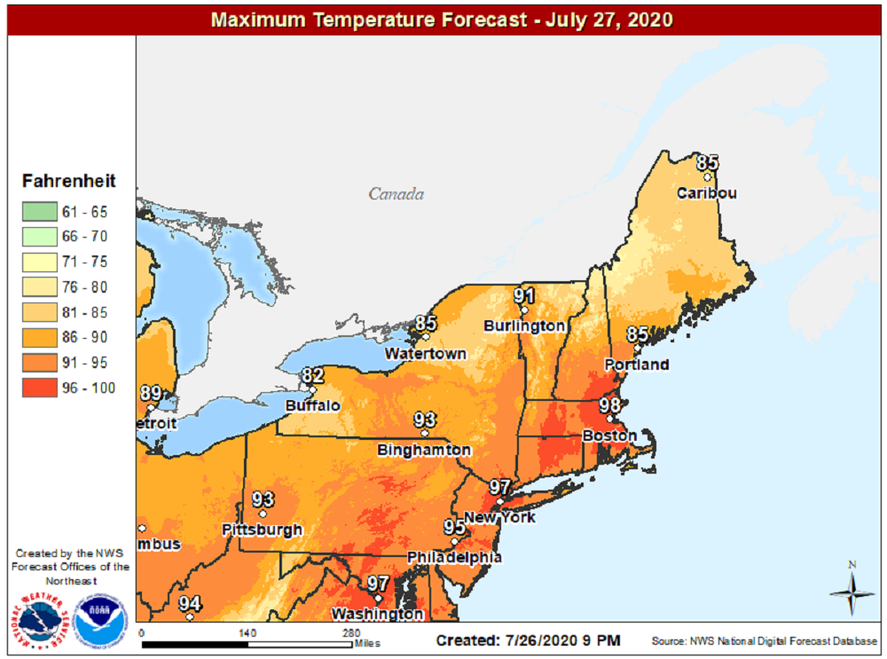 It will be very hot the next few days with readings well over 90 degrees. (Courtesy NOAA)