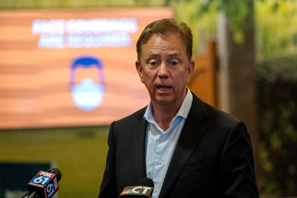 On June 25, Gov. Ned Lamont went to Bradley International Airport to announce new quarantine procedures for travelers coming to Connecticut from some states with high infection rates. (Courtesy Tyler Russell/Connecticut Public Radio)
