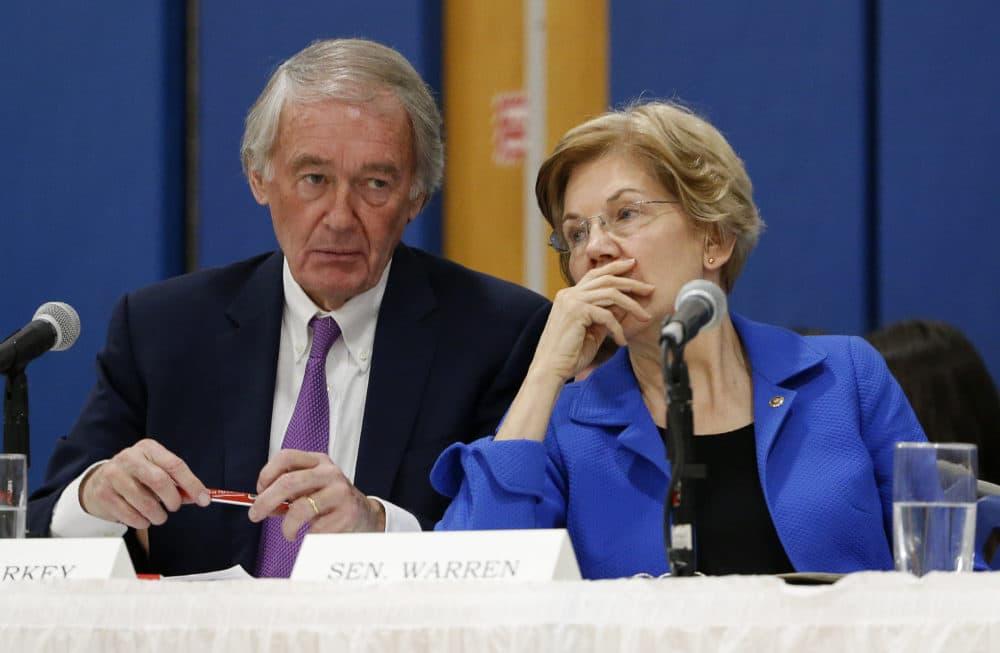 U.S. Sen. Elizabeth Warren speaks with U.S. Sen. Ed Markey. (Winslow Townson/AP)