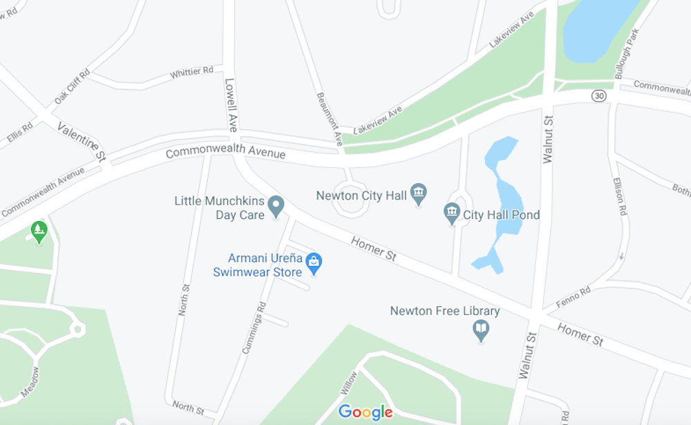 The truck drove through a crowd of demonstrators that had gathered outside Newton City Hall Tuesday. (Google Maps)