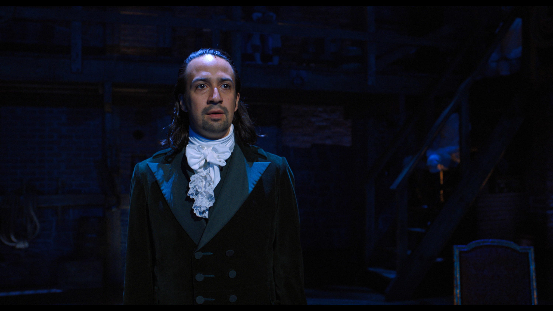 "Lin-Manuel Miranda as Alexander Hamilton in the Broadway musical ""Hamilton."" (Courtesy Disney+)"