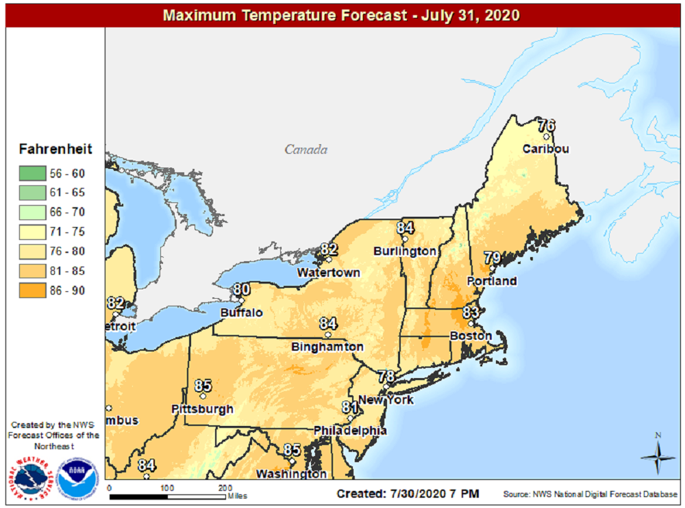 It will be another warm day today with dry conditions and above average temperatures. (Courtesy NOAA)