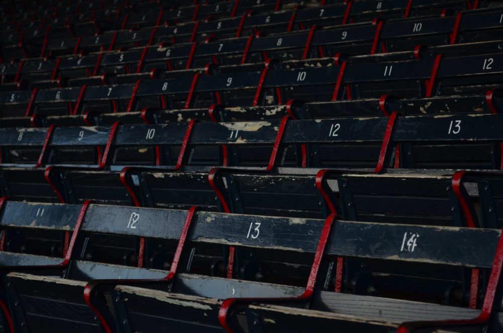 The Red Sox won their season opener against the Baltimore Orioles, but without fans in the stands at Fenway Park. (Sharon Brody/WBUR)