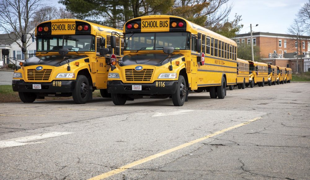 Randolph High School buses parked behind the school. (Robin Lubbock/WBUR)