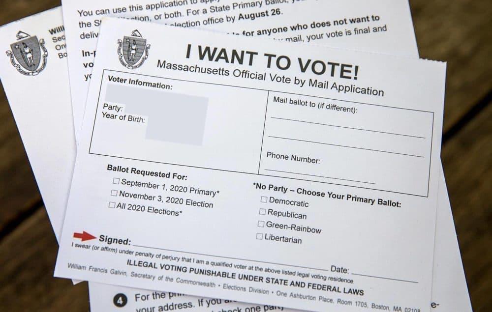 A Massachusetts vote-by-mail application. (Robin Lubbock/WBUR)