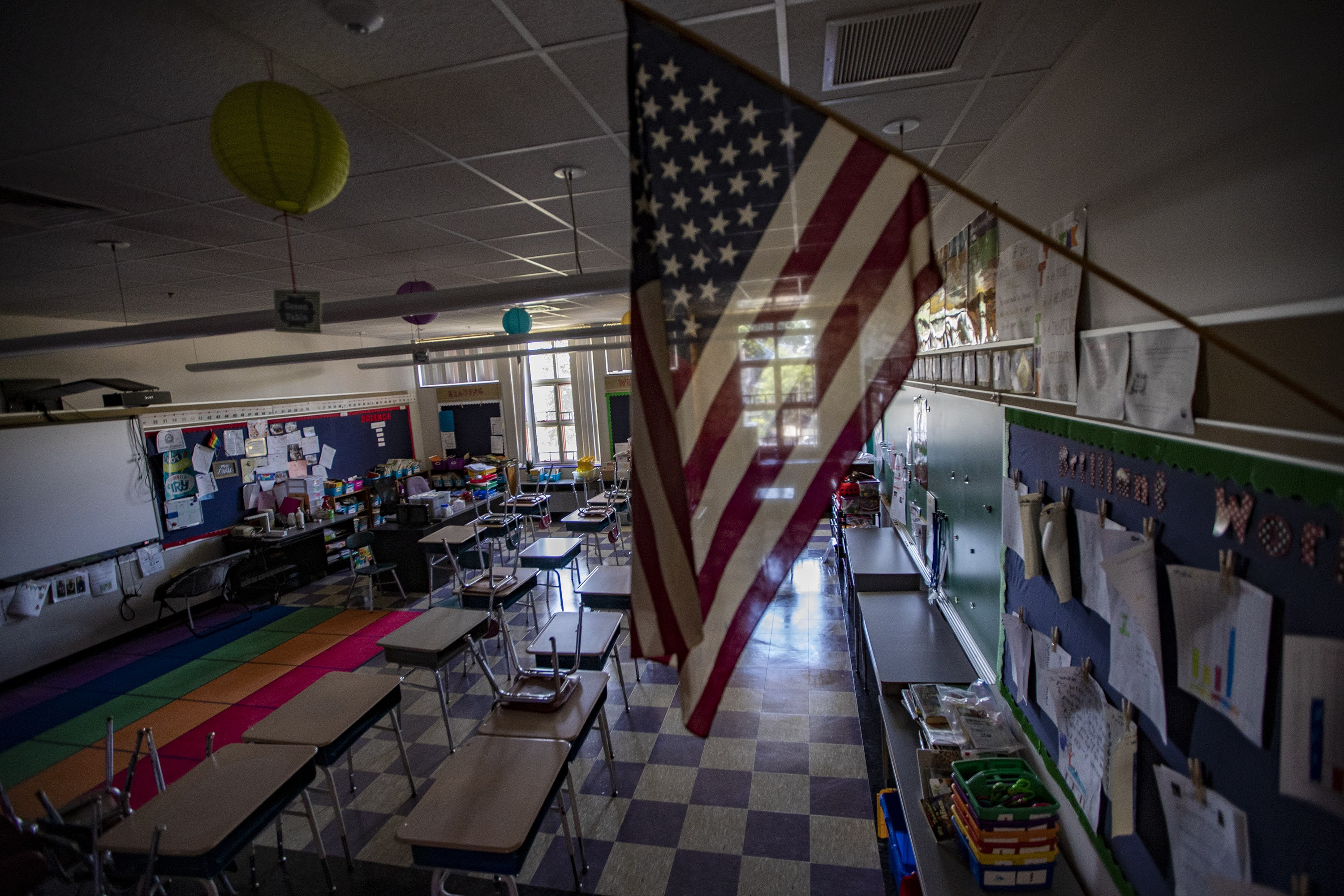 A Boston-area school classroom that has been empty since March 2020 when schools began to close due to the coronavirus pandemic. (Jesse Costa/WBUR)