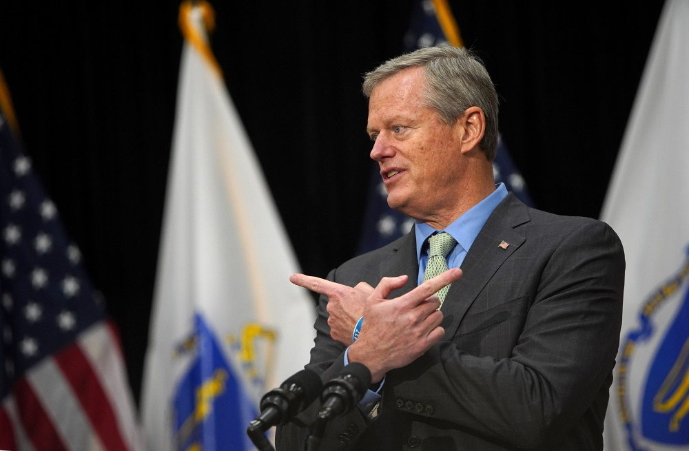 Gov. Charlie Baker discusses school reopenings on Aug. 20, 2020. (Barry Chin/The Boston Globe via Pool)