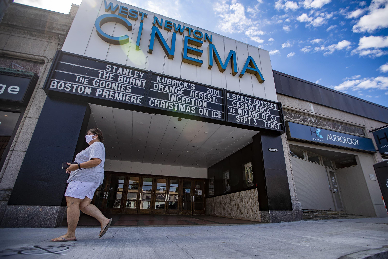 The West Newton Cinema in August. (Jesse Costa/WBUR)
