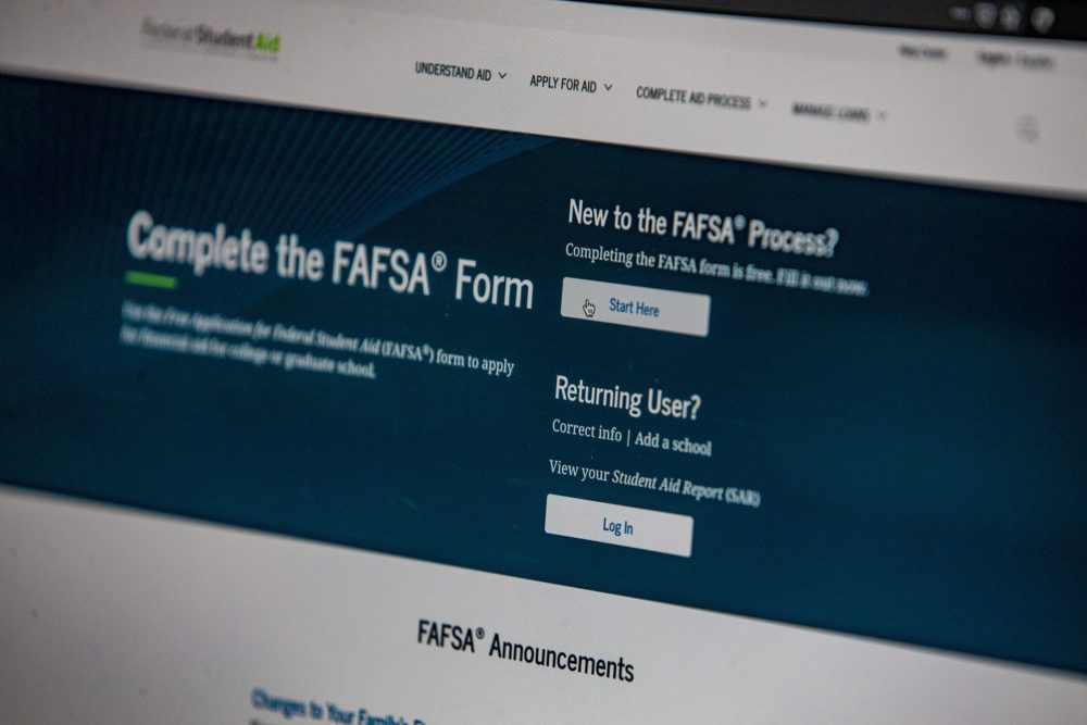 The FAFSA application appears on the studentaid.gov website. (Jesse Costa/WBUR)