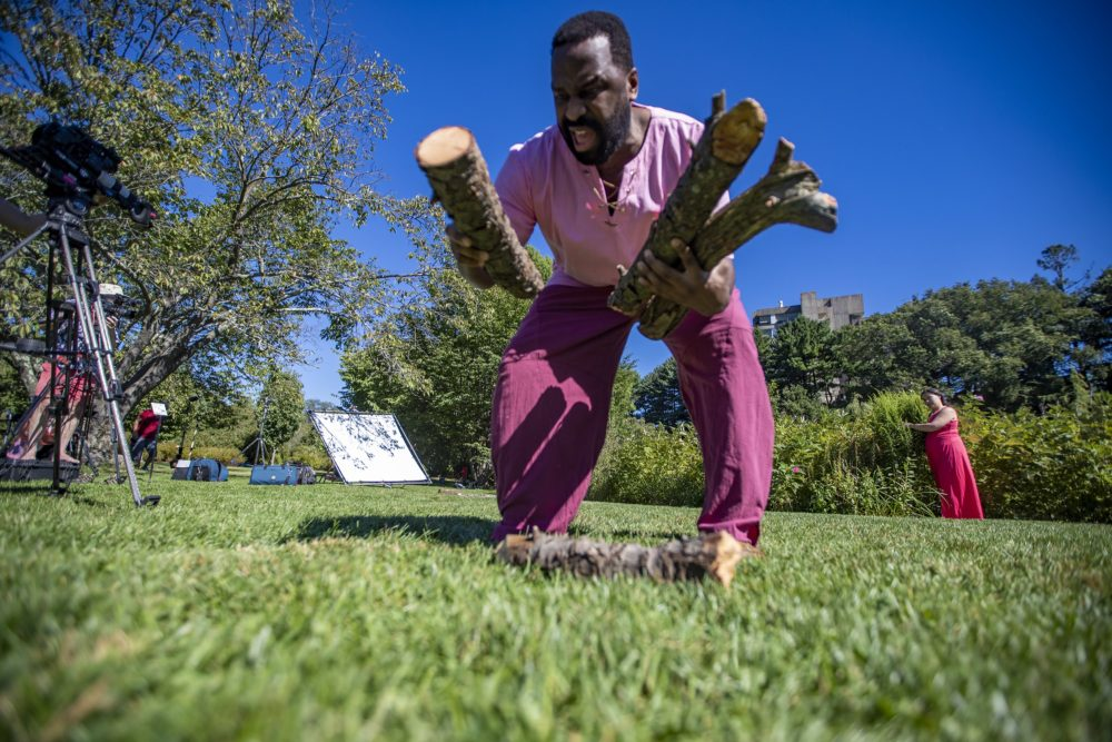 """Omar Robinson, as Ferdinand, picks up logs during a rehearsal for a scene in """"The Tempest"""" at the Arnold Arboretum, one of a series of selected scenes, sonnets and monologues by the Actors' Shakespeare Project called """"The Nature of Shakespeare."""" (Jesse Costa/WBUR)"""