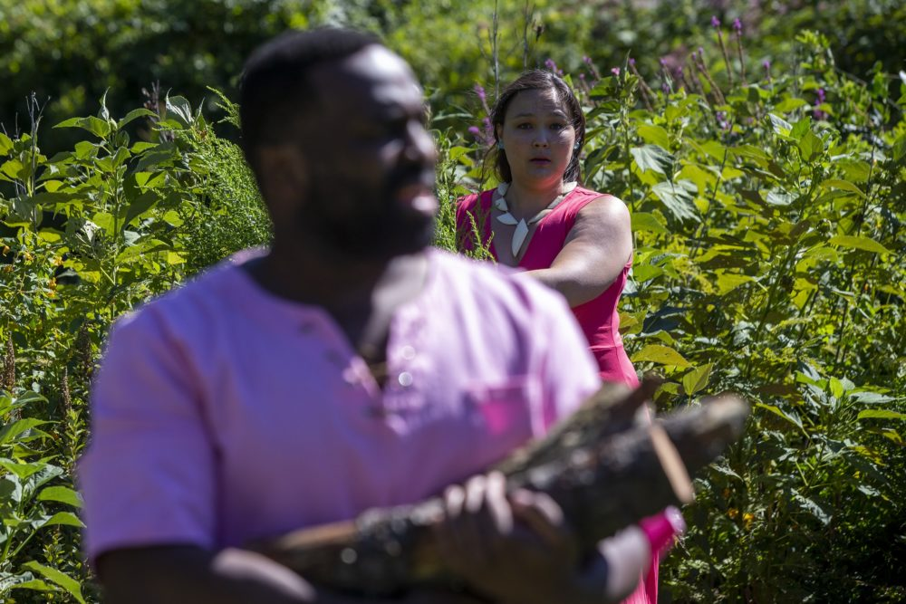 """Paige Clark as Miranda peers from behind a bush at Omar Robinson as Ferdinand as they rehearse the log scene in """"The Tempest"""" at the Arnold Arboretum. (Jesse Costa/WBUR)"""