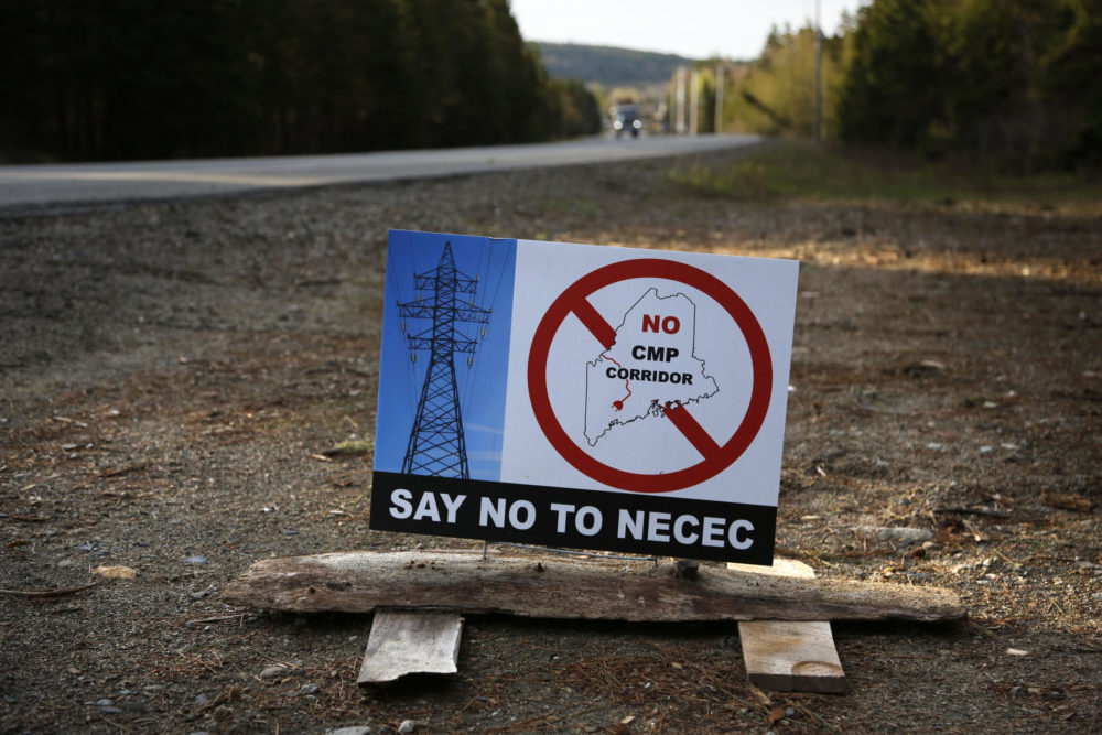 In this May 28, 2019 photo, a sign protests Central Maine Power's controversial hydropower transmission corridor near Jackman, Maine. (Robert F. Bukaty/AP)