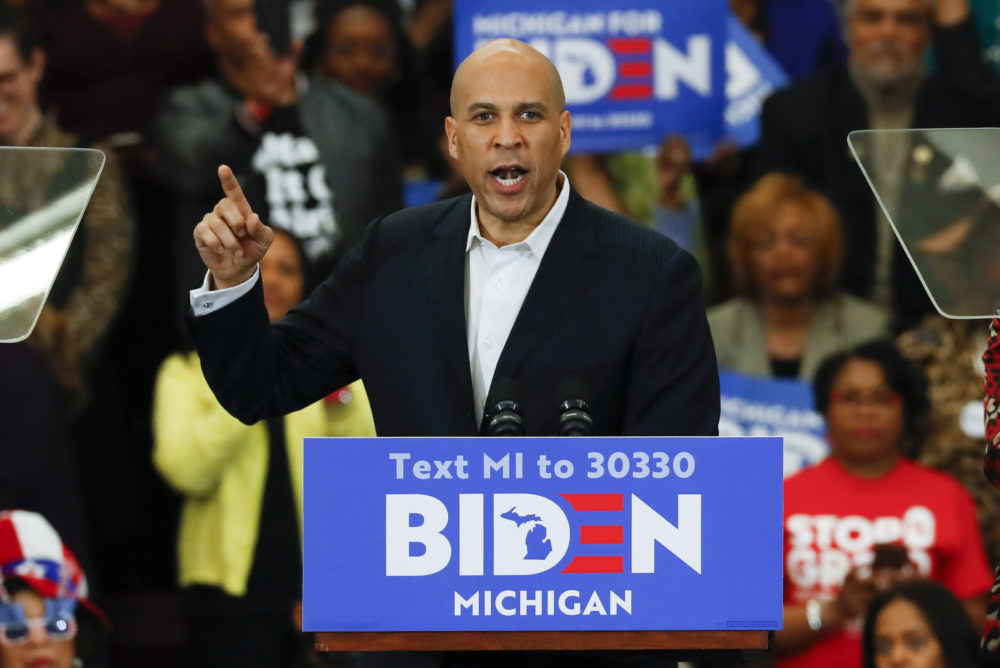 Sen. Cory Booker speaks at a campaign rally for Democratic presidential candidate former Vice President Joe Biden at Renaissance High School in Detroit, Monday, March 9, 2020. (Paul Sancya/AP)