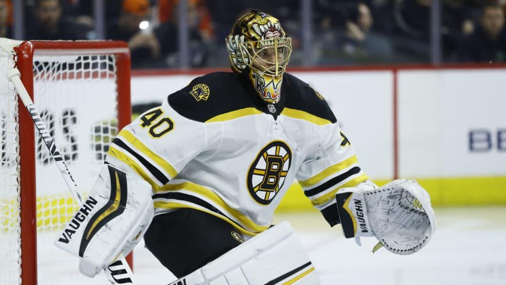 Boston Bruins' Tuukka Rask plays during an NHL hockey game against the Philadelphia Flyers, Tuesday, March 10, 2020, in Philadelphia. (Matt Slocum/AP)