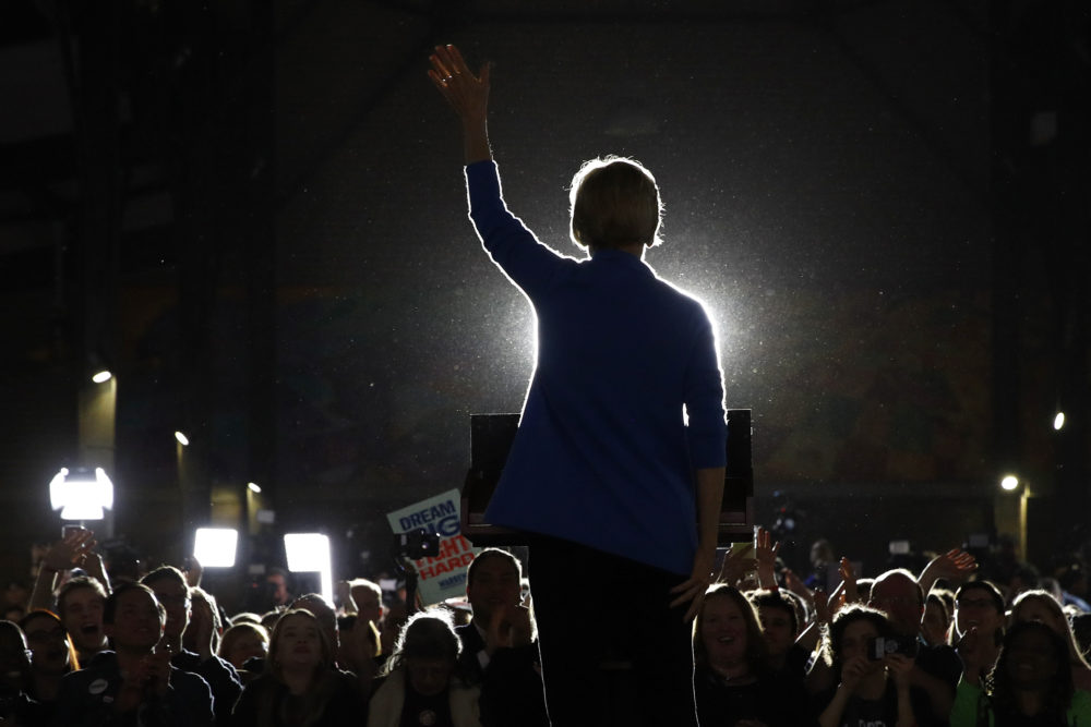 In this March 3, 2020 photo, Sen. Elizabeth Warren, D-Mass., speaks during a primary election night rally at Eastern Market in Detroit. Presumptive Democratic presidential nominee Joe Biden has already narrowed the field by saying he will pick a woman. In addition to Sen. Kamala Harris and Michigan Gov. Gretchen Whitmer, other names that have been part of the speculation are Warren and former Georgia House Democratic Leader Stacey Abrams. (Patrick Semansky/AP)