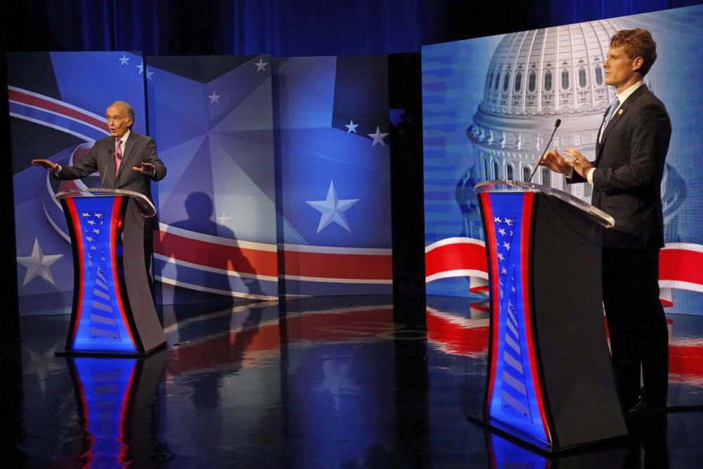 Sen. Edward Markey, left, debates challenger Rep. Joseph P. Kennedy III in the final debate leading up to the Democratic primary, Tuesday, Aug. 18, 2020, in Needham, Mass. (Barry Chin/The Boston Globe via AP, Pool)
