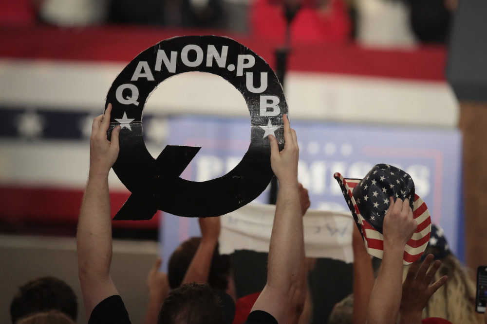 Guests cheer for President Trump as he speaks at a rally to show support for Ohio Republican congressional candidate Troy Balderson on Aug. 4, 2018 in Lewis Center, Ohio. (Scott Olson/Getty Images)