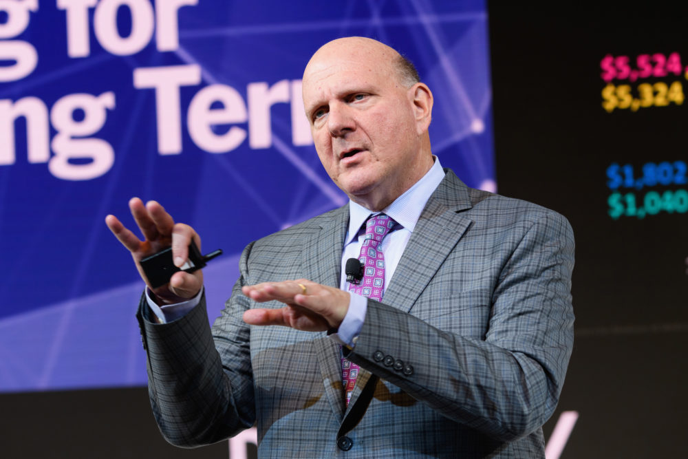 Steve Ballmer, founder of USAFacts and former CEO of Microsoft, speaks during the 2018 New York Times Dealbook on Nov. 1, 2018 in New York City.  (Michael Cohen/Getty Images for The New York Times)
