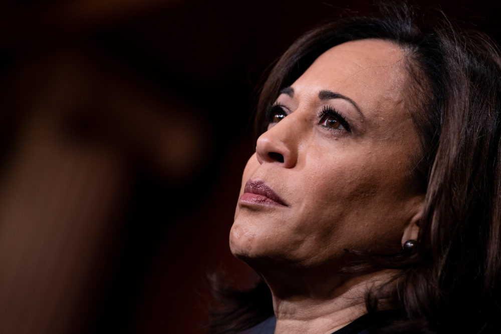 Senator Kamala Harris (D-CA) listens during a press conference during the impeachment trial of President Donald Trump on Capitol Hill January 31, 2020, in Washington, DC. (Brendan Smialowski/AFP via Getty Images)