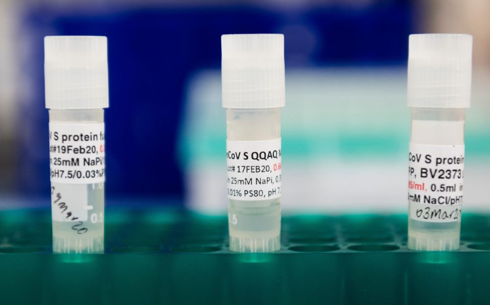 Three potential coronavirus, COVID-19, vaccines are kept in a tray at Novavax labs in Gaithersburg, Maryland.  (Andrew Caballero-Reynolds/AFP via Getty Images)