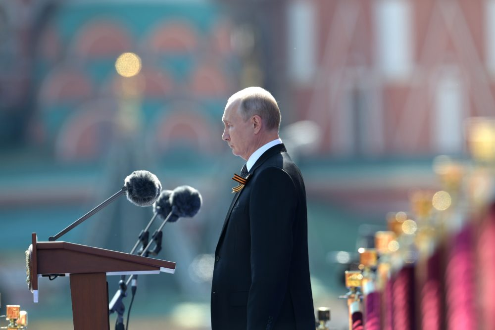 President of Russia and Commander-in-Chief of the Armed Forces Vladimir Putin makes a speech in Red Square during a Victory Day military parade marking the 75th anniversary of the victory in World War II, on June 24, 2020 in Moscow, Russia.(Sergey Guneev/Host Photo Agency via Getty Images )