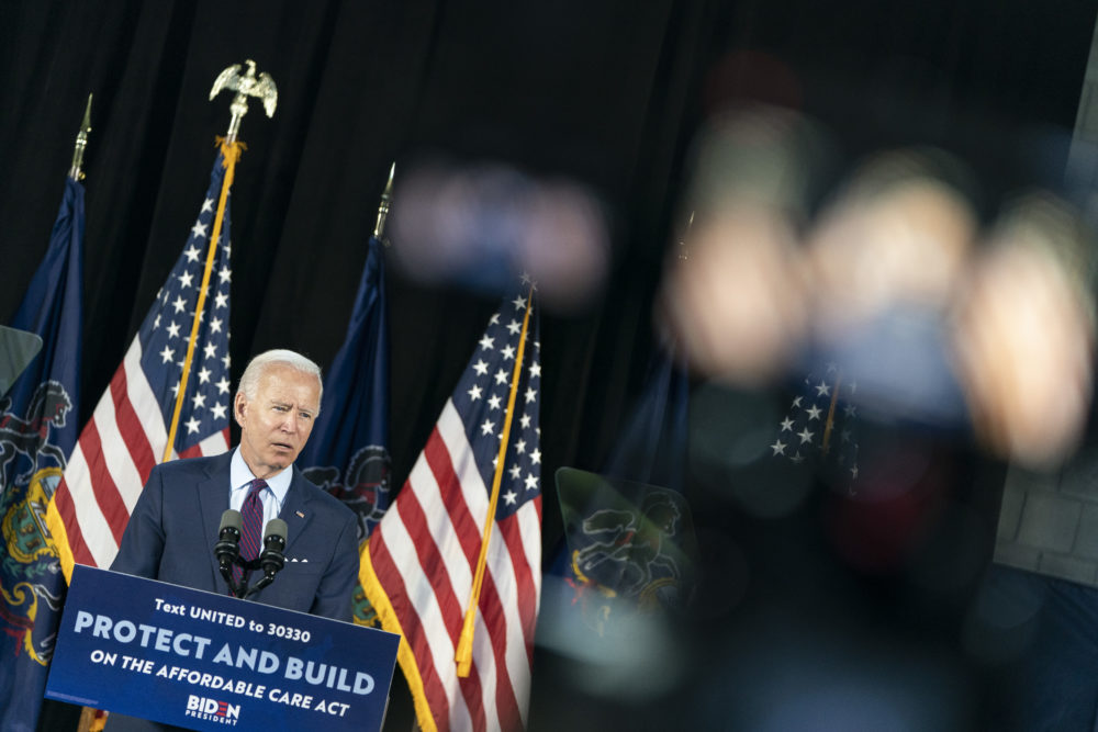 Democratic presidential candidate former Vice President Joe Biden speaks during an event about affordable healthcare at the Lancaster Recreation Center on June 25, 2020 in Lancaster, Pennsylvania. Biden met with families who have benefited from the Affordable Care Act and made remarks on his plan for affordable healthcare. (Joshua Roberts/Getty Images)