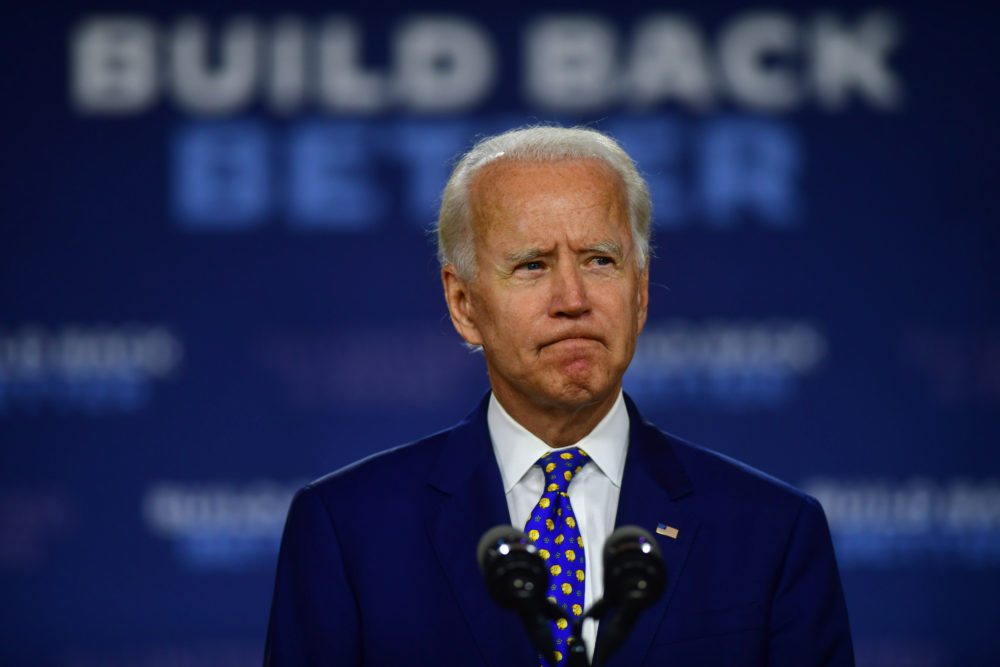 Joe Biden delivers a speech at the William Hicks Anderson Community Center, on July 28, 2020 in Wilmington, Delaware. (Mark Makela/Getty Images)