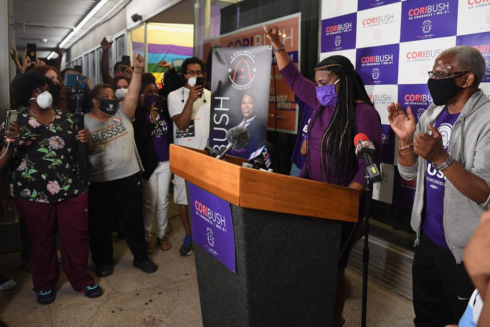 Missouri Democratic congressional candidate Cori Bush gives her victory speech at her campaign office on August 4, 2020 in St. Louis, Missouri. (Michael B. Thomas/Getty Images)