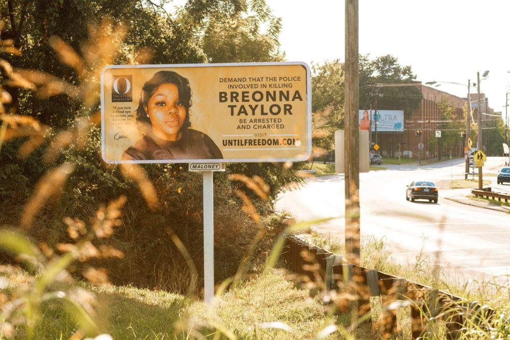 A billboard featuring a picture of Breonna Taylor and calling for the arrest of police officers involved in her death is seen on Aug. 11, 2020 in Louisville, Kentucky. (Jon Cherry/Getty Images)