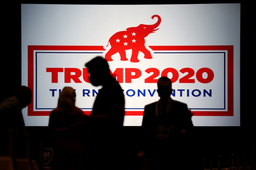 Delegates arrive for the Republican National Convention at the Charlotte Convention Center on August 24, 2020 in Charlotte, North Carolina. (Travis Dove/Pool/Getty Images)