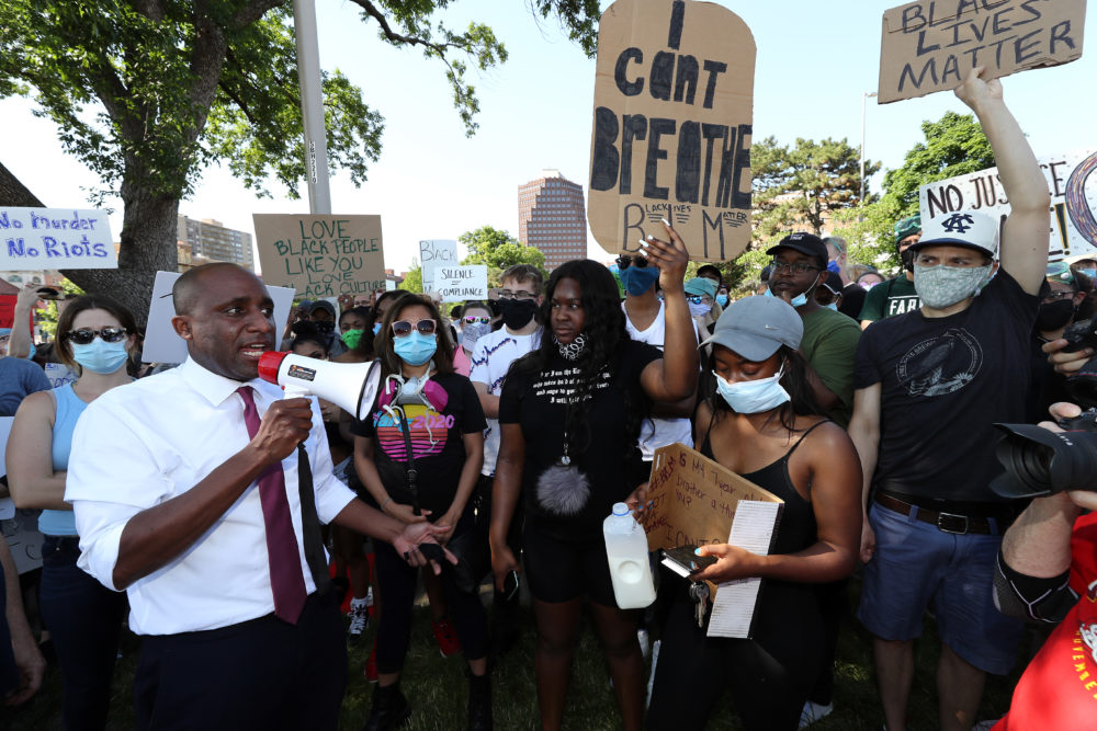 Kansas City Mayor Quinton Lucas addresses demonstrators with a bullhorn during a protest at the Country Club Plaza on May 31, 2020 in Kansas City, Missouri. (Jamie Squire/Getty Images)
