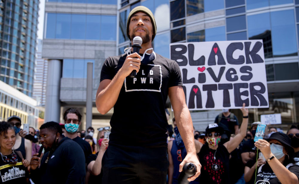 Kendrick Sampson participates in the Hollywood talent agencies march to support Black Lives Matter protests in June. (Rich Fury/Getty Images)