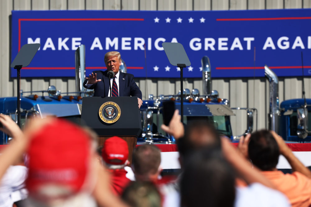 U.S. President Donald J. Trump speaks at a campaign rally on August 20, 2020 in Old Forge, Pennsylvania. (Michael M. Santiago/Getty Images)